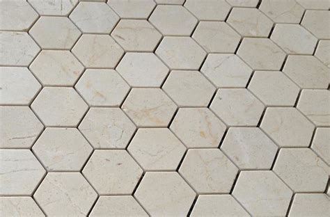 crema marfil mosaic tile crema marfil marble 2x2 hexagon mosaic tile honed