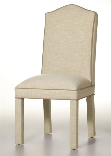 camel back parson chair with contrasting border