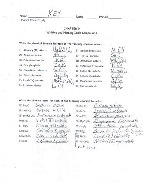 names  formulas  ionic compounds worksheet