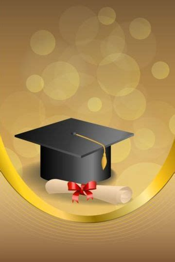 graduation cap  diploma  golden abstract background