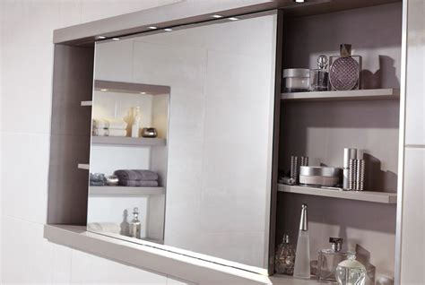 Cabinet Mirrors For Bathroom by Sliding Mirror Cabinet With Feature Shelving And Concealed