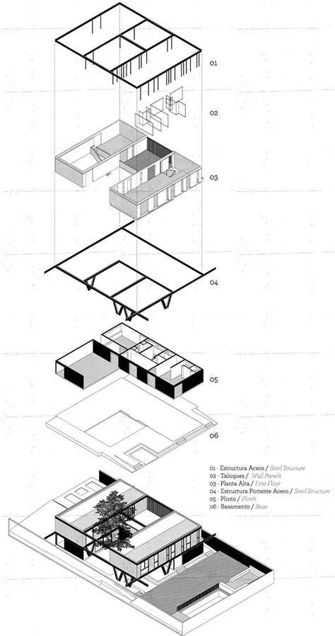 exploded axonometric of house lg by gregorio brugnoli err 225 zuriz design drawing architecture
