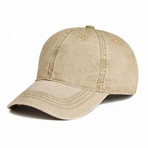 voboom washed cotton baseball cap plain adjustable