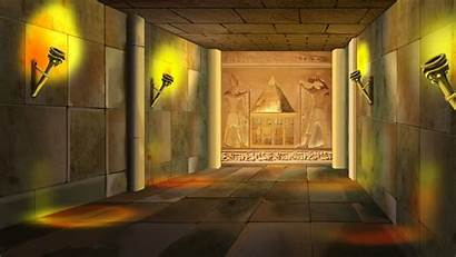 Egyptian Temple Ancient Interior Torches Digital Columns