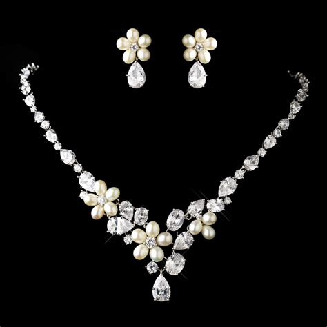 antique silver cz pearl wedding jewelry set elegant
