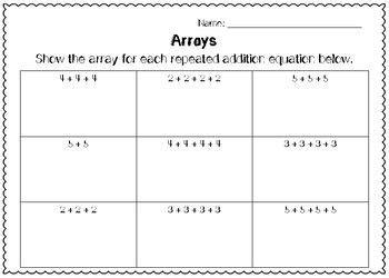 arrays worksheets array worksheets worksheets math