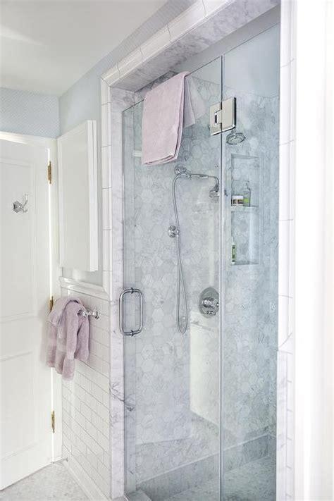 walk  shower  marble hex tile surround