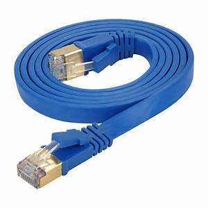 Lan Kabel Stecker : cat 7 flachkabel u ftp lan kabel rj45 stecker blau ~ Orissabook.com Haus und Dekorationen