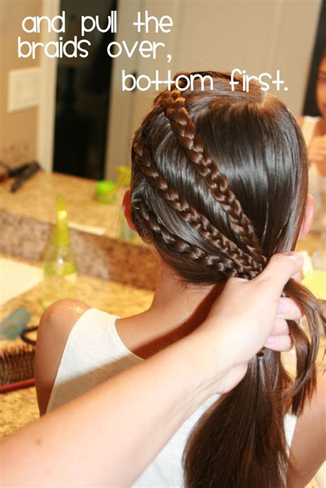 hair today triple braid   side ponytail