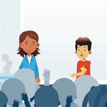 Teacher Student Animated Relationship Talking Class Students