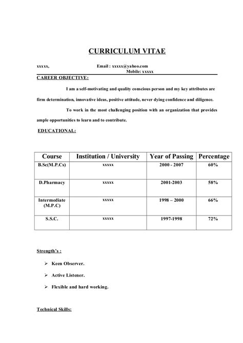 11223 simple resume format for freshers doc fresher resume sle14 by babasab patil