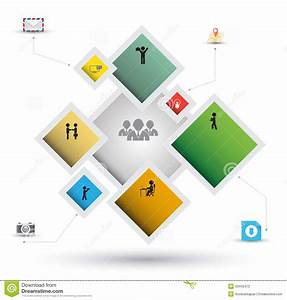 Rectangle Group Options Template With Icons Stock Vector