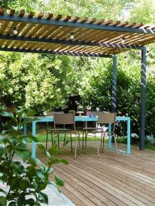 Table De Jardin Bois Et Metal : pergola m tal terrasse bois et table de jardin design couture turbulences blog ~ Teatrodelosmanantiales.com Idées de Décoration