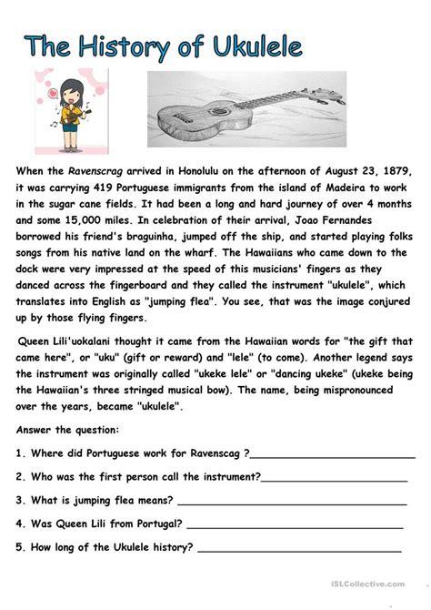 history of ukulele worksheet free esl printable