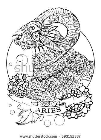 Aries zodiac sign coloring book raster illustration. Tattoo stencil. Black and white lines. Lace