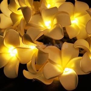 20-LED 78inch Diwali Decor Plumeria Flower String Light