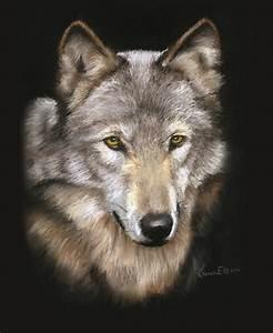 Wolf Face Painting by Karen Elkan
