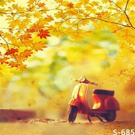 Autumn Motorcycle Model Photography Background Children