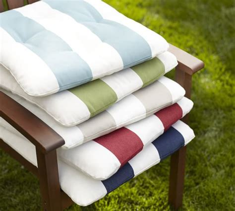 outdoor tufted dining chair cushion striped pottery barn