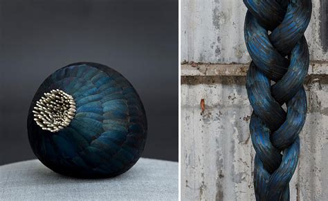 otherworldly bird feather sculptures  kate mccgwire