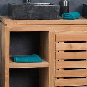 Meuble De Salle : meuble salle de bain en teck massif 120 cm 598 salle de bain wc ~ Nature-et-papiers.com Idées de Décoration