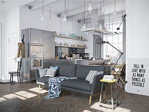 scandinavian apartment jazzed up by industrial design With idee deco cuisine avec table esprit scandinave