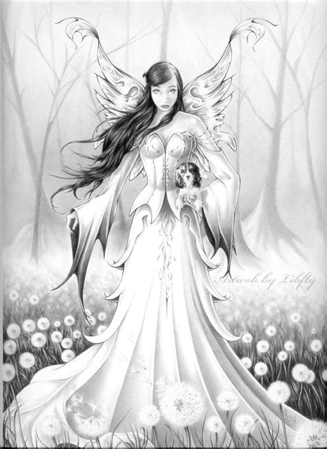 Fairy with little dog by Libfly on DeviantArt | Grayscale