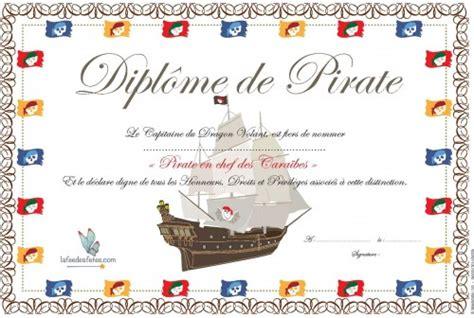 jeux de filles cuisine printable diplôme de pirate