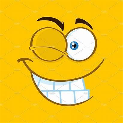 Cartoon Face Funny Winking Square Clipart Creativemarket
