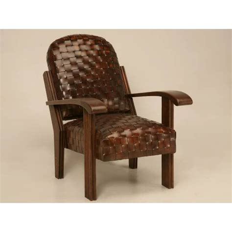 woven leather club chair with ottoman plank