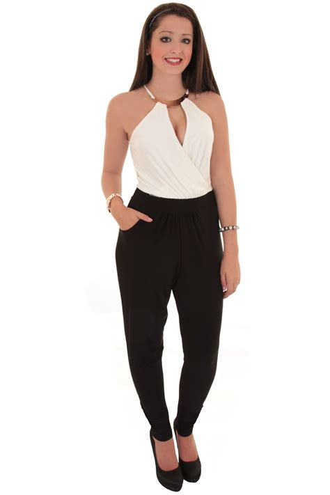 two jumpsuit sleeveless halterneck smart casual v neck two tone