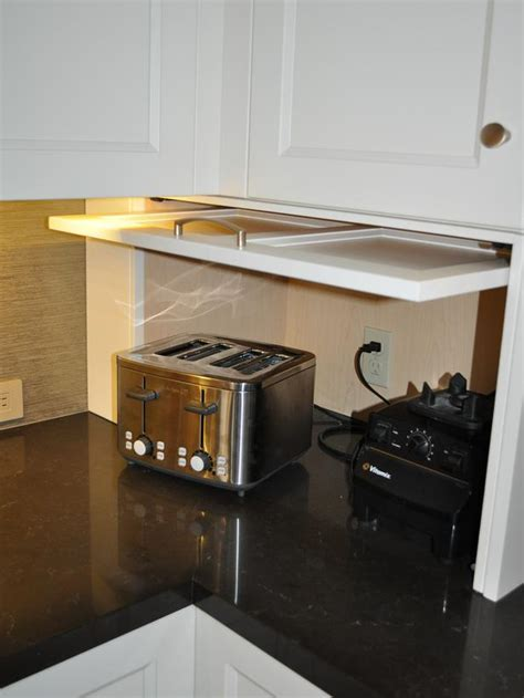 White Shaker Cabinet Appliance Garage : Designers