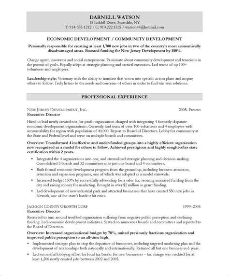 Economic Development Resume by Community Development Executive Page1 Non Profit Resume