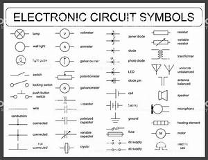 Set Of Electronic Circuit Symbols Stock Illustration