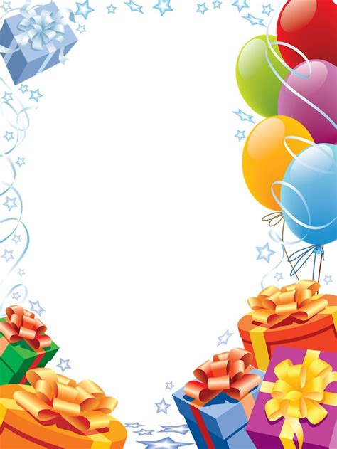 happy birthday transparent frame  gifts  balloons
