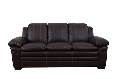 Classic Bonded Leather Living Room Sofa With White Stitch