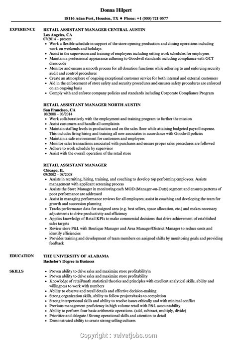 Retail Assistant Manager Resume Exles by Downloadable Assistant Manager Resume Sle Retail