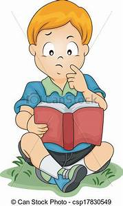 EPS Vector of Thinking Boy - Illustration of a Little Boy ...