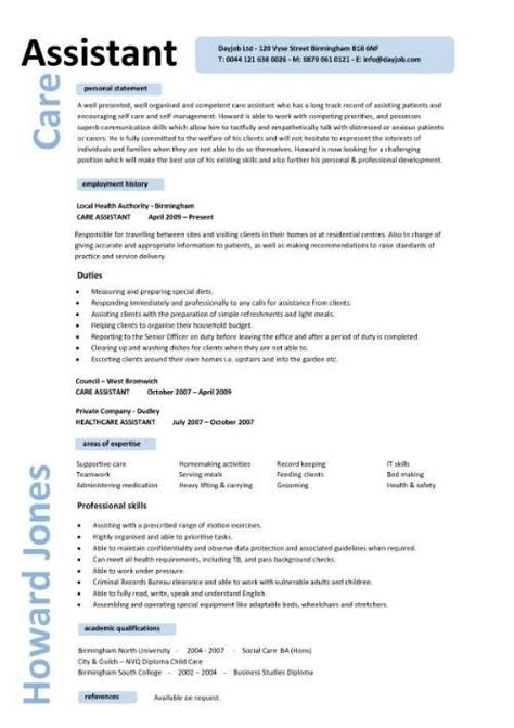 Caregiver Resume Sles by Caregiver Professional Resume Templates Care Assistant
