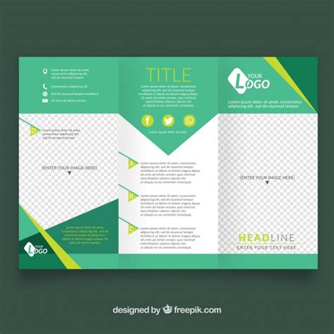 Leaflet Template by Business Leaflet Template In Green Tones Vector Free