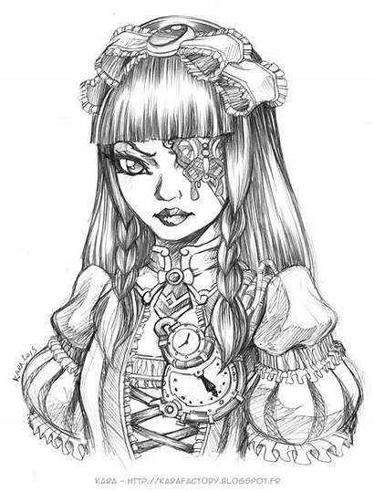 Coloring Gothic Deviantart Pages Steampunk Lolita Sketch