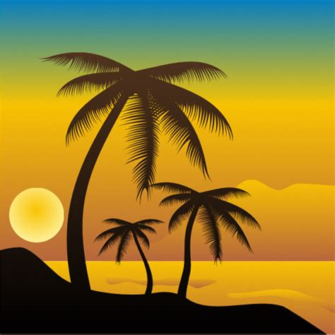 Tropical Beach Sunset Vector Scene Welovesolo