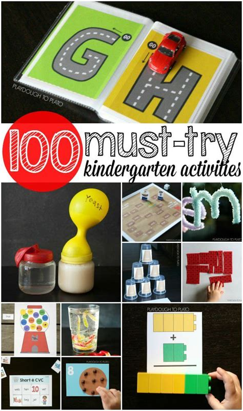 kindergarten activities playdough to plato 812 | 100 Kindergarten Activities. Math games science projects free printables sight word games... tons and tons of ideas