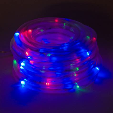 Solar Powered 100 Red Green Blue Led Rope Outdoor