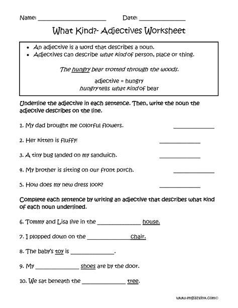 regular adjectives worksheets  kind adjectives