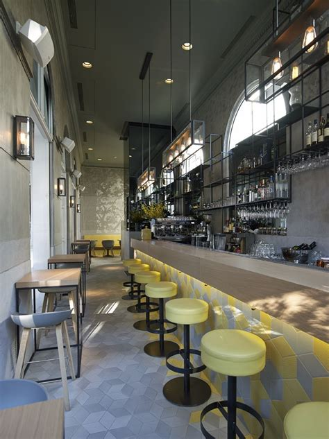 coffee shop modern and classic in yellow and grey tones