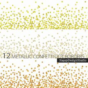 Digital border dot confetti glitter gold silver metallic dots