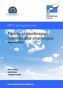 Family philanthropy: rewards and challenges (2010) - IssueLab