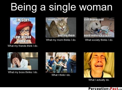 Single Woman Meme - being a single woman what people think i do what i really do perception vs fact