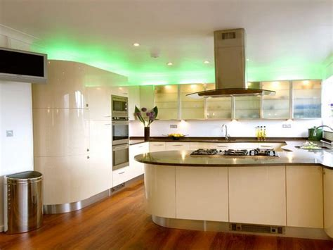 New Kitchen Lighting Trends With Curved Island Unit And